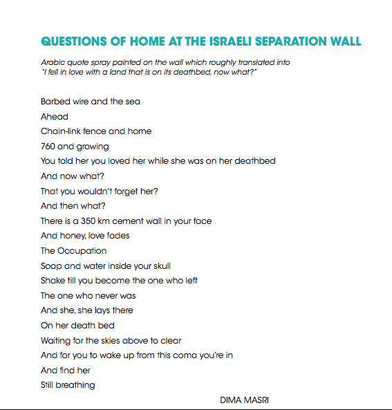 Questions of Home at the Israeli Separation Wall Poem Dima Masri